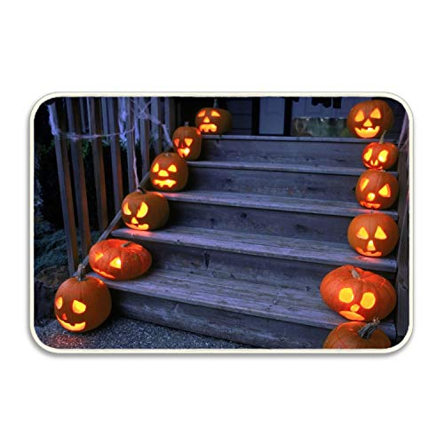 Viola North Halloween Pumpkin Stairs Porch Durable Rubber Door Mat Low-Profile Rug Mats Doormat Indoor Outdoor,Entry, Garage, Patio, High Traffic Areas -