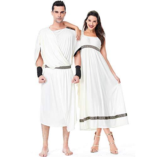 CT COUTUDI Greek Mythology Copuple Party Costume Gold White Doddess Dress -