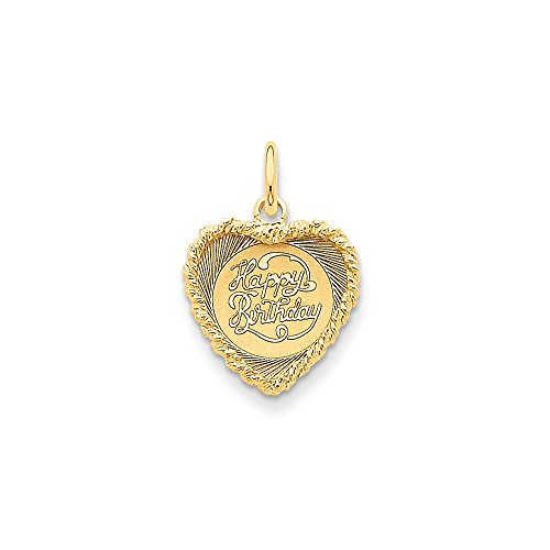 FB Jewels Solid 14K Yellow Gold Happy Birthday Heart Disc Charm