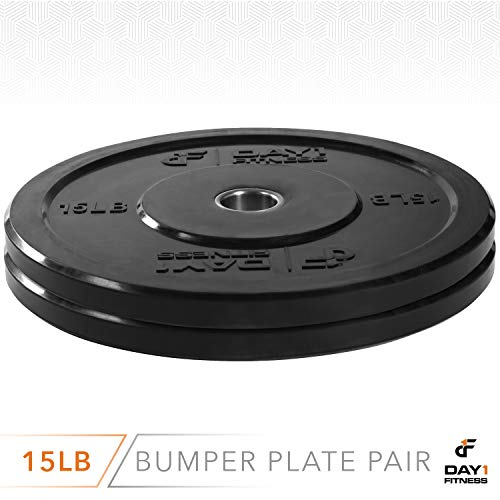 """Day 1 Fitness Olympic Bumper Weighted Plate 2"""" for Barbells, Bars – 15 lb Set of 2 Plates - Shock-Absorbing, Minimal Bounce Steel Weights with Bumpers for Lifting, Strength Training, and Working Out by Day 1 Fitness (Image #2)"""