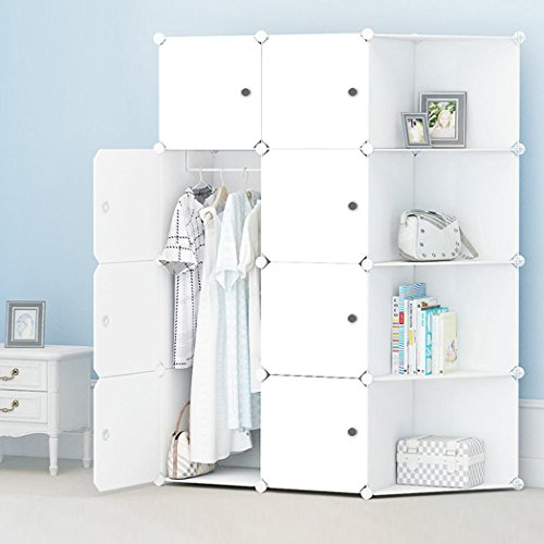 - DIY Portable Folding Column Wardrobe, Clothes Close Modular Storage Organizer Space Saving Armoire with Easy Closed Doors [US STOCK] (4 Layer 2 Column)