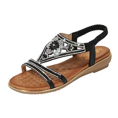 Aunimeifly Women's Bohemia Ladies Crystal Flat Slip-On Elastic Back Strap Sandals Beach Peep Toe Casual Shoes Black