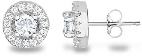 SPOIL CUPID 925 Sterling Silver CZ Diamond Classic Halo Stud Earrings in Yellow/Rose Gold/Rhodium Plated