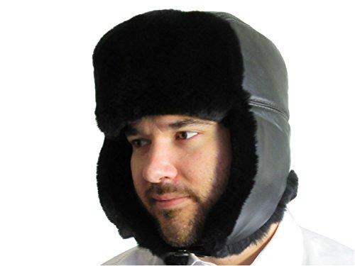 (Unisex Black Rex Rabbit Black Leather Top Trooper Hat)