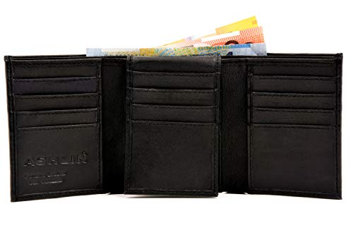 Ashlin Genuine Leather Tri-fold Wallet - Lambskin Napa Black ()