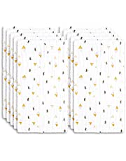 Muslin Baby Burp Cloths 10-Pack Super Absorbent Bee Burping Rugs 18 X 9 inches 6 Layers Washcloths Face Towels Premium Soft Natural for Sensitive Skin Baby 100% Organic Cotton