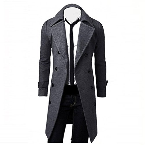 Trench Cotton Jacket BHYDRY Double Parka Stylish Long Slim Men Winter Coat Grey Fashion Outwear Solid Breasted wUqUSXP