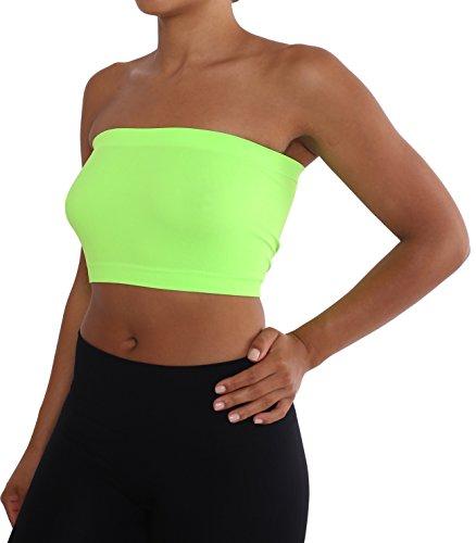 [ITZON Woman`s B01 Plain Tube Bra Top (B01-Neon Green)] (Neon Outfits)