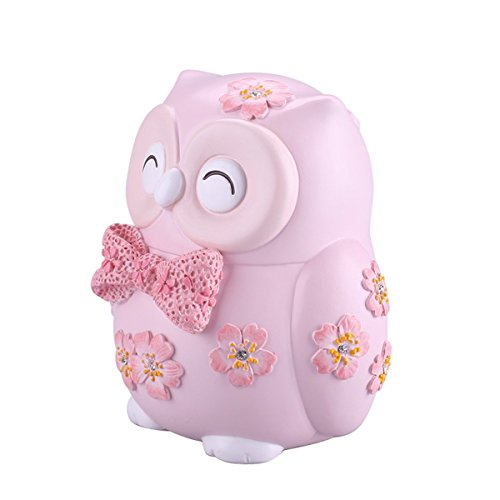 ElecNova Cute Owl Pink Piggy Bank Home Decor Ornament Gift for Girls (Piggy Bank Baby Girl)