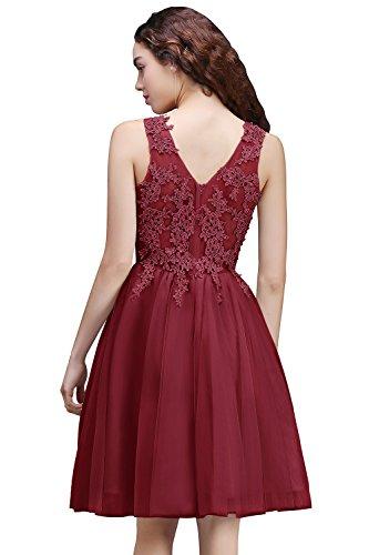 Damen Tüll 32 Ausschnitt Rot Knielang Ballkleid Cocktailkleid V Applique Gr Abendkleid Prinzessin 46 Rückenfrei Wein rtAwr
