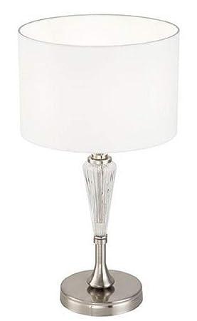 Casa-Padrino lámpara de Mesa Plata/Blanco Ø 26,5 x H. 46 cm ...