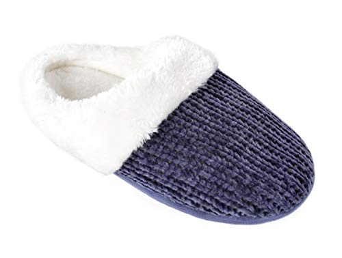 Ladies Mule Knitted Blue Slippers Chenille PrPOqf