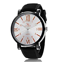 Men's Military Watch Easy Read Roman Numeral Big Orange Dial Designer Black Army Watch Rubber Band Silicone Strap Sport Watch for Women
