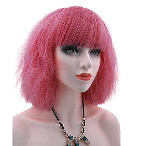 eNilecor Women Short Bob Fluffy Hair Full Wigs with Bangs Heat Resistant Kinky Straight Custom Cosplay Party Wigs (Pink)]()