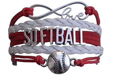 Softball Charm Bracelet - Infinity Love Adjustable Charm Bracelet with Softball Charm for Female Softball Players