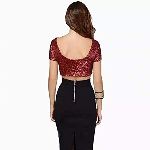 corta Donna Topkeal T Navel corta manica shirt Solid Red Top Paillettes Top x8CHR