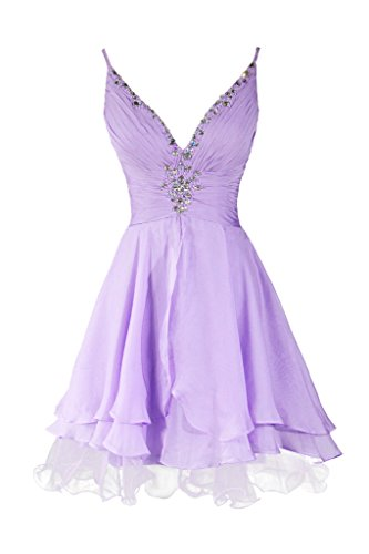 Dresstore Women's Beaded Straps Prom Dresses V Neck Evening Party Gowns lavender US 12