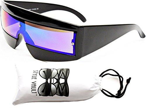 V138-vp Robocop Robot Rimless Party Sunglasses (019RV Black-Emerald Green Mirror, - Shades Cyclops