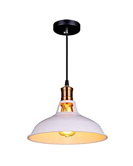 Splink Vintage lámpara colgante techo la Industria lámpara de techo/Plafón, E 27 Capacidad fábrica latón pantalla para lámpara, color blanco