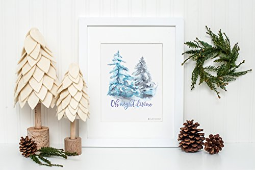 Oh Night Divine Water Color Tree Wall Art By Always Yesterday Prints| Elegant Christmas| Water color Christmas |Christmas Printable |Christmas Tree | Merry Christmas | Christmas Art