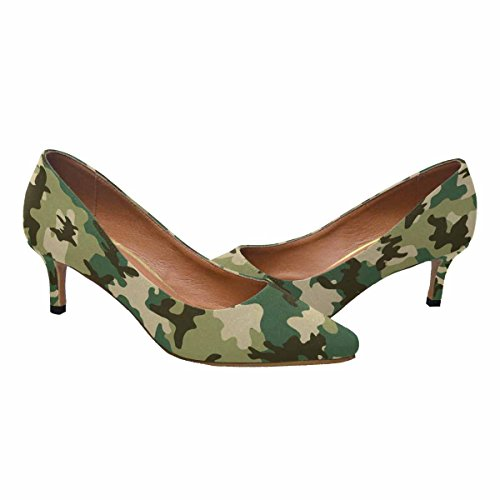 InterestPrint Womens Low Kitten Heel Pointed Toe Dress Pump Shoes Camouflage Pattern Multi 1 xhJOkuoiqI
