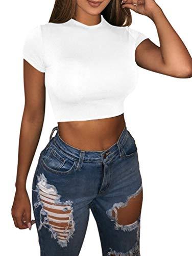 LAGSHIAN Basic Short Sleeve Crop Top, Women