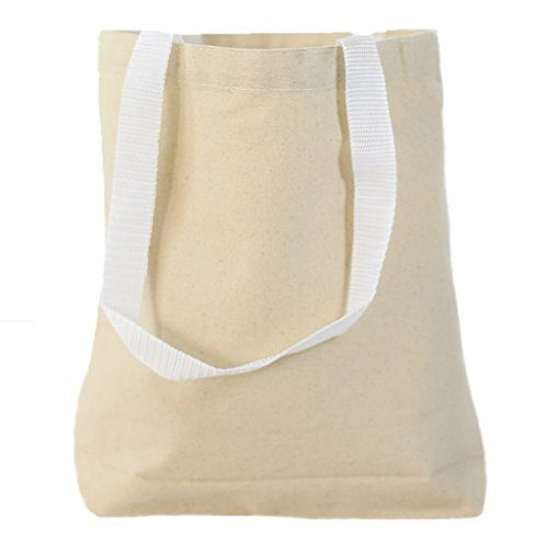 Multipurpose Cotton Canvas Tote Bags with White Handles (Small, Medium, Large ) (Medium, Natural) ()