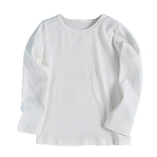 - Birdfly Baby Unisex Basic Plain T-Shirt Top Toddlers Kids Long Sleeve Sweatshirt Soft Cotton Tees Under 5 Dollar (24M, White)