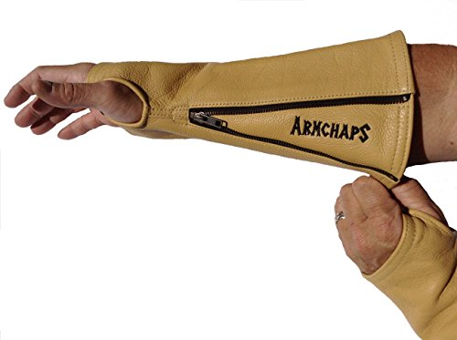 - Arm Chaps Leather Protective Arm Guard Sleeves to Prevent Cuts, Scratches, Bruising & Protect Thin Skin. For Male & Female all ages. Tan (1 Pair/XL). Left & Right form-fitting.
