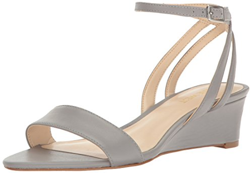 Nine West Women's Lewer Leather Wedge Sandal - Grey - 6 B...