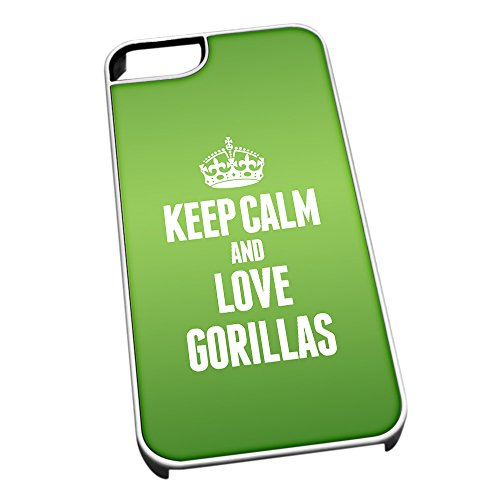 Bianco cover per iPhone 5/5S 2430 verde Keep Calm and Love Gorillas