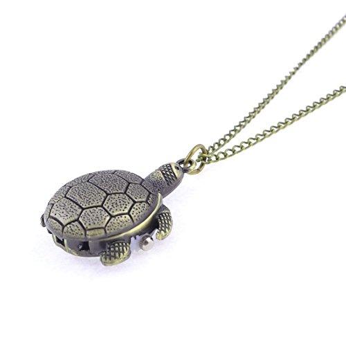 Bronzeton Schildkröte Anhänger arabische Zahl Dial-Hummer-Haken-Taschen-Uhr