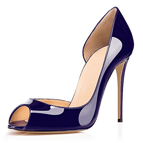 uBeauty Women's High Heel D'Orsay Court Shoes Peep Toe Shoes Slip On Sandals Stiletto Heel Shoes for Wedding Navy