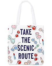 Kate Spade New York Reusable Large Canvas Tote Bag with Interior Pocket, Red/White/Blue Cotton Canvas Tote, Sun's Out