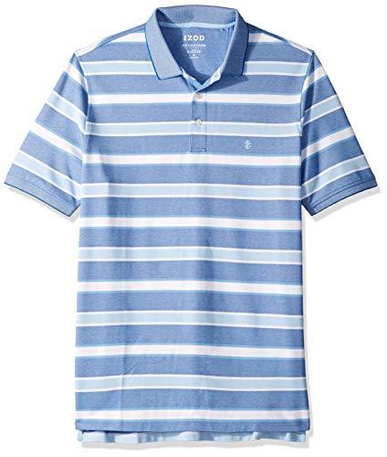 IZOD Men's Big and Tall Advantage Performance Short Sleeve Stripe Polo, True Blue S2019, 3X-Large