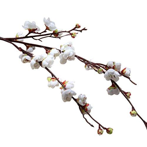 Leewos Hot Sale ! Artificial Flowers, Fake Plum Cherry Blossom Floral Slik Flower Wedding Bouquet For Home Party Decor 94cm (White) -