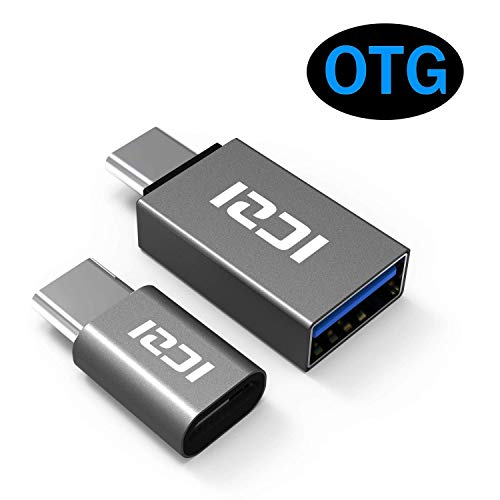 Micro USB to USB C Adapter (2 Pack), ICZI USB Type C Adapter, Thunderbolt 3 to USB 3.0 Adapter for MacBook Pro 2018/2017, Samsung Galaxy S9/S8, Pixel 3, Dell XPS and More (Space Gray)