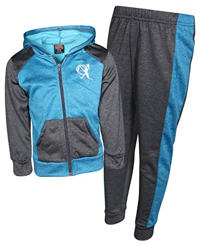 Mad Game Boys 2 Piece Performance Jogger Tracksuit Set with Hooded Jacket, Blue/Charcoal, Size 5/6'