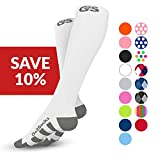 Go2Socks GO2 Compression Socks for Men Women Nurses Runners 20-30 mmHg (high) - Medical Stocking Maternity Travel - Bet Performance Recovery Circulation Stamina - (2White,L)