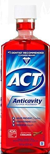 - ACT Anticavity Fluoride Rinse 18 Oz (3 Pack) Alcohol free cinnamon