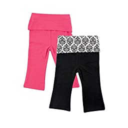 Yoga Sprout Baby 2 Pack Pants, Pink/Black Damask, 18-24 Months