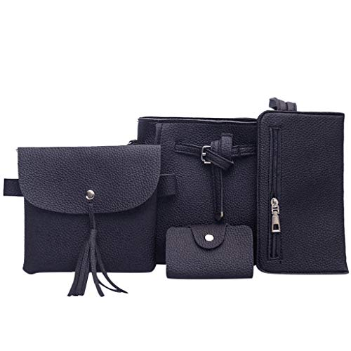 Womens Leather Bag, 4pcs Shoulder Messenger Bag Shopping Daily Handbag Wallet Coin Purse Satchels Card Package – The Super Cheap