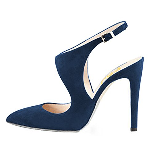 Prom Toe Pointed 4 Women Buckle Size 15 High Shoes Party US Stiletto FSJ Heels Pumps Stylish Blue Sandals HPw0F0Bq