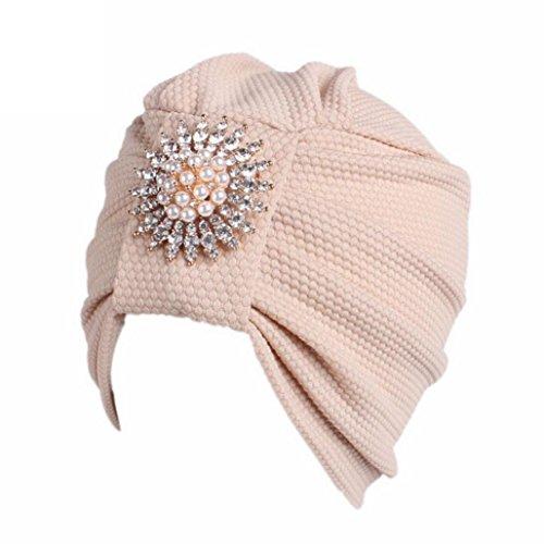 wer Turban Beanie Hat Bonnet Chemo Cap Muslim Scarf Hijab Lslamic Turbante (Beige) ()