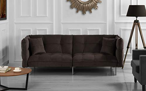 DIVANO ROMA FURNITURE Collection - Modern Plush Tufted Velvet Fabric Splitback Living Room Sleeper Futon (Brown) ()