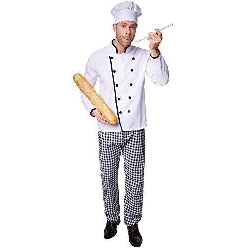 dressforfun Disfraz de Cocinero Famoso para Hombre | Chaqueta de Chef Bien trabajada | Pantalones de Cuadros a Juego | Incl Gorro de Cocinero (L | no 301540)