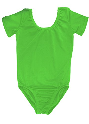 Sookie Active Basic Short Sleeve Leotard (LIME, Youth 6-8) -