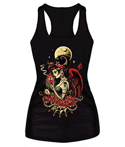 Amoluv Hot Fashion Punk Women's 3D Digital Printed Black Sleeveless T Shirt Vest