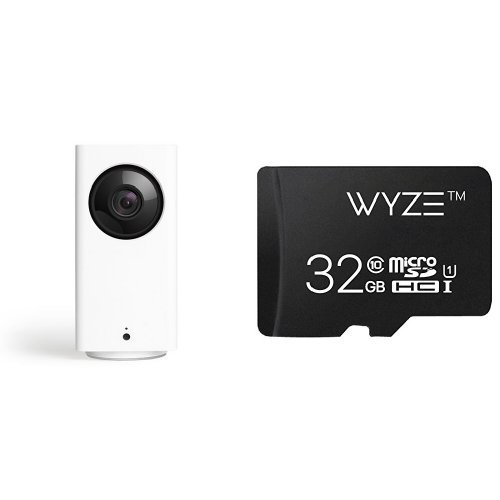 Wyze Cam Pan 1080p Pan/Tilt/Zoom Indoor Smart Home Camera with Wyze 32GB MicroSD Card Class 10 by Wyze Labs