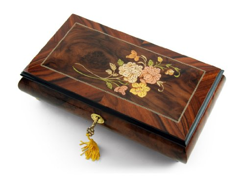 Gentle 30 Note Roses with Rosewood Frame Musical Jewelry Box with 30 Note Tune-When You Wish Upon A Star